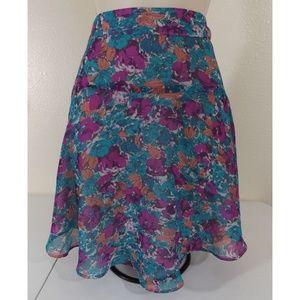 BCBGeneration Floral Print Chiffon Mini Skirt